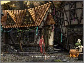 Skieruj się w stronę miejskiego muru (przejście na lewo od gotującego Bagiennego), gdzie ukryty jest pojazd, o którym wspominał Doktor Walden - Magiczne Królestwo (2) - Opis przejścia - Simon the Sorcerer 5: Kto nawiąże kontakt? - poradnik do gry