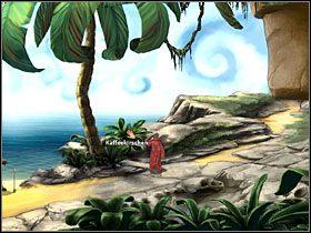 Ty natomiast maszeruj na plażę, gdzie pod parasolem wyleguje się Czerwony Kapturek - Wyspa (2) - Opis przejścia - Simon the Sorcerer 5: Kto nawiąże kontakt? - poradnik do gry