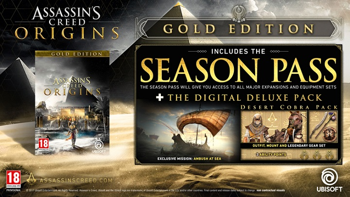 Assassin's Creed: Origins – Gold Edition wyceniono na 359 zł (PC) oraz 399 zł (konsole). - Wszystko o Assassin's Creed Origins (premiera The Curse of Pharaohs) - Akt. #21 - wiadomość - 2018-03-13