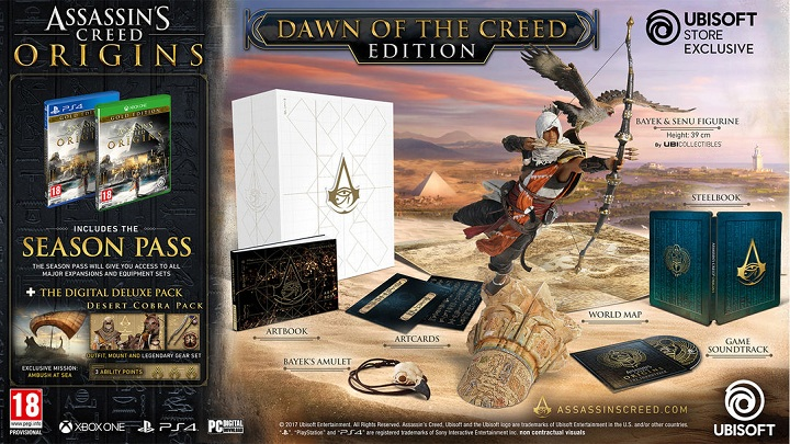 Assassin's Creed: Origins – Dawn of the Creed Edition kosztuje 665 zł (PC) lub 649 zł (PS4 i Xbox One). - Wszystko o Assassin's Creed Origins (premiera The Curse of Pharaohs) - Akt. #21 - wiadomość - 2018-03-13