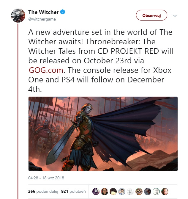 Tweet studia CD Projekt RED.