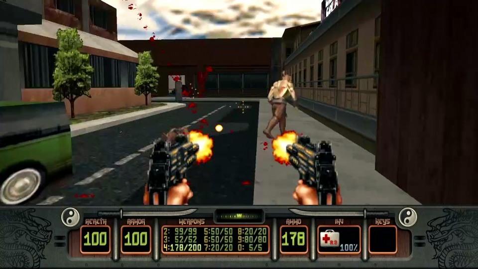 arme double uzi dans jeu fps shadow warrior sur PC en 1997