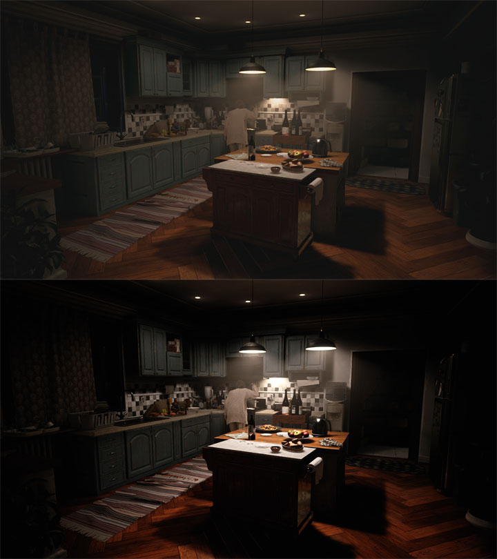 Vanilla game on top, modded one on the bottom. - 2021-07-19