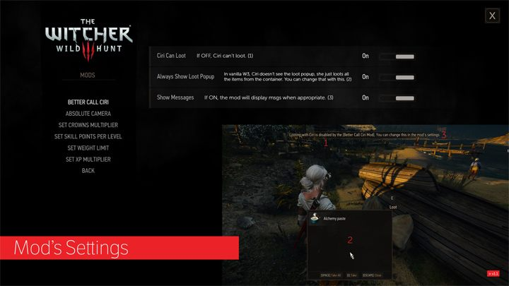The Witcher 3: Wild Hunt GAME MOD Menu File for Better Call