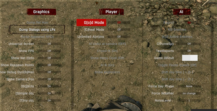 Dying Light mod Wahkah's Dev Menu v.6