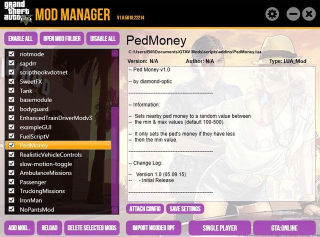 Grand Theft Auto V GAME MOD GTAV Mod Manager v 1 0 6379 16959