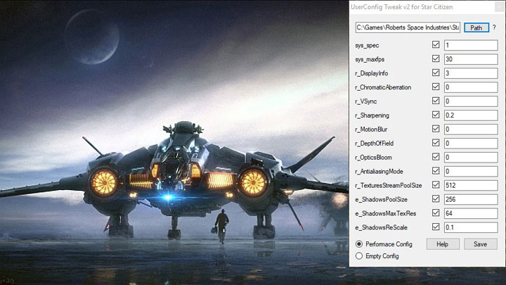 Star Citizen GAME MOD User Config Tweaker v 2 01 - download