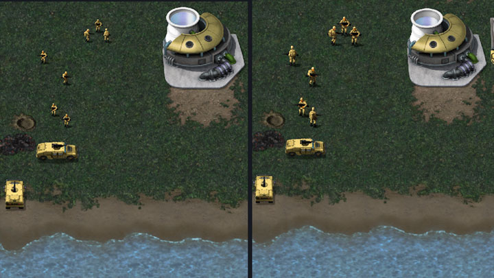 Vanilla game on the left, modded on the right. - 2021-05-02