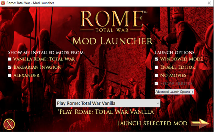 Rome: Total War GAME MOD Rome: Total War Mod Launcher v.1 ...