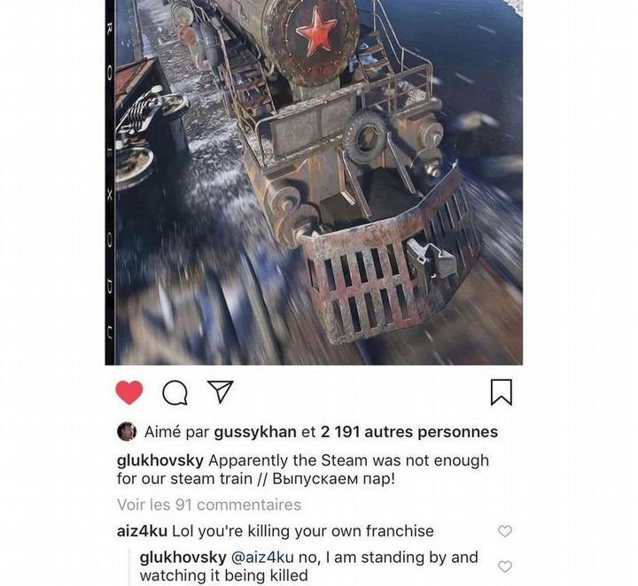 This acute response from Głuchowsky disappeared from Instagram - Dmitry Głuchowski criticizes the contract of Metro Exodus from the Epic Games Store - 2019-01-30