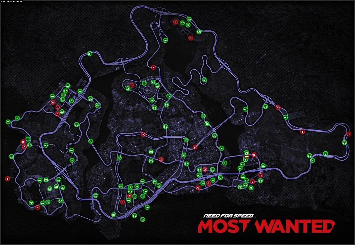 Map of Cars - Need for Speed: Most Wanted