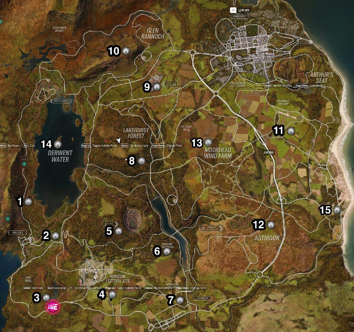 Mapa zapomnianych samochodów w Forza Horizon 4 - Forza