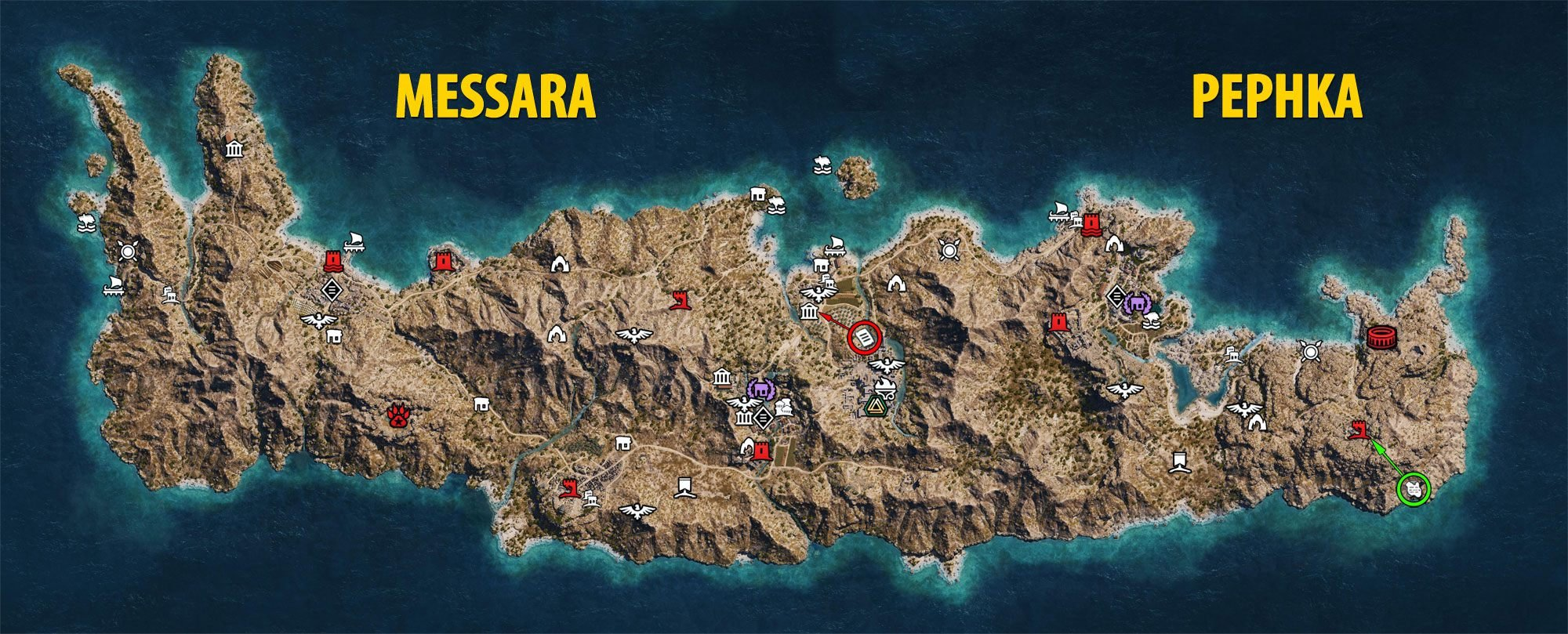 Mapa Messary i Pephki - Assassin's Creed Odyssey