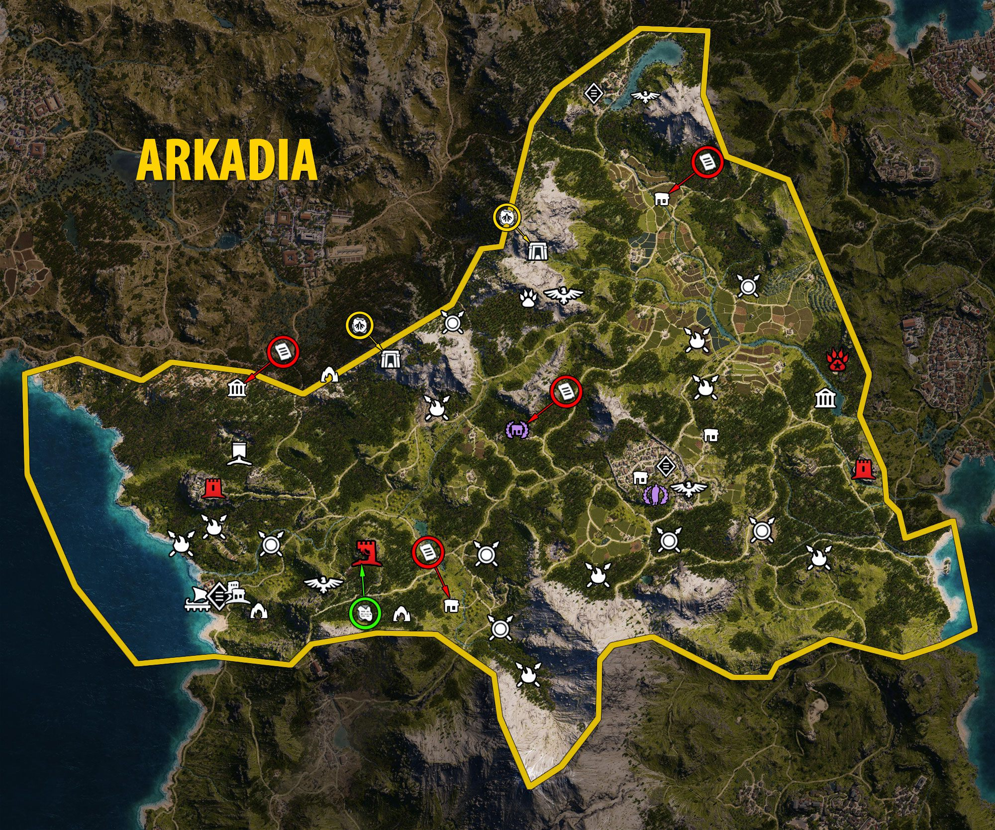 Mapa Arkadii - Assassin's Creed Odyssey