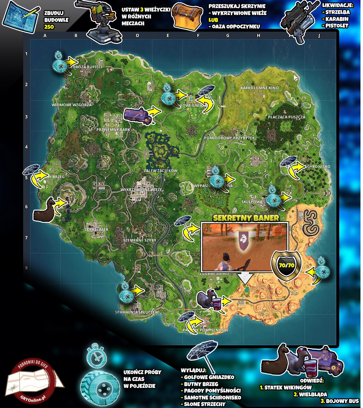 Mapa Sezon 6 Tydzień 10 Wyzwania Fortnite Battle Royale Fortnite