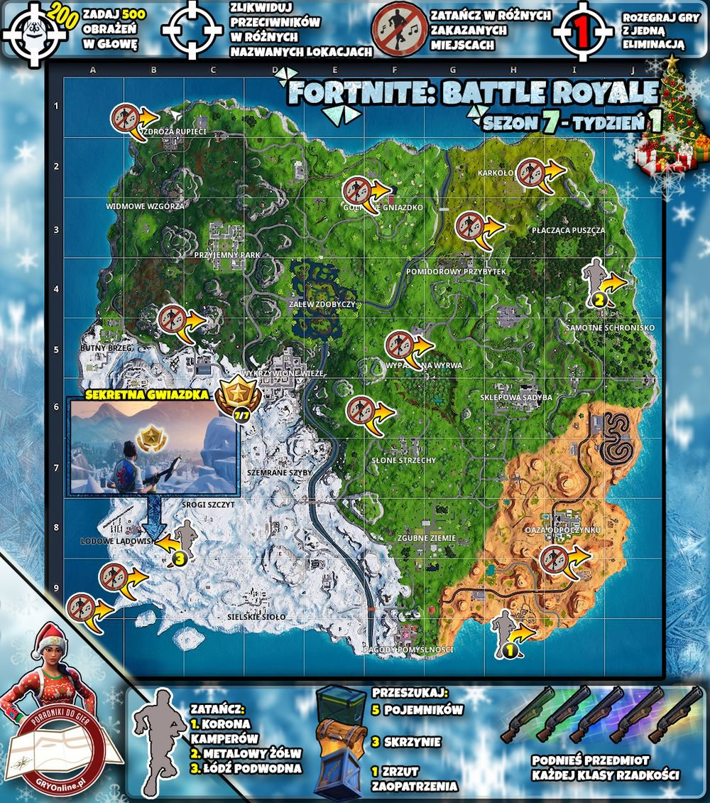 Mapa Sezon 7 Tydzień 1 Wyzwania Fortnite Battle Royale Fortnite