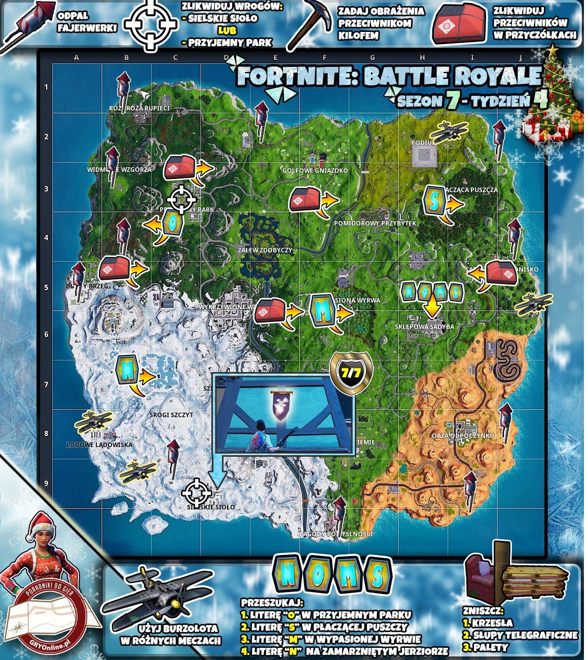 Mapa Wyzwań Sezon 7 Tydzień 4 Wyzwania Fortnite Battle Royale