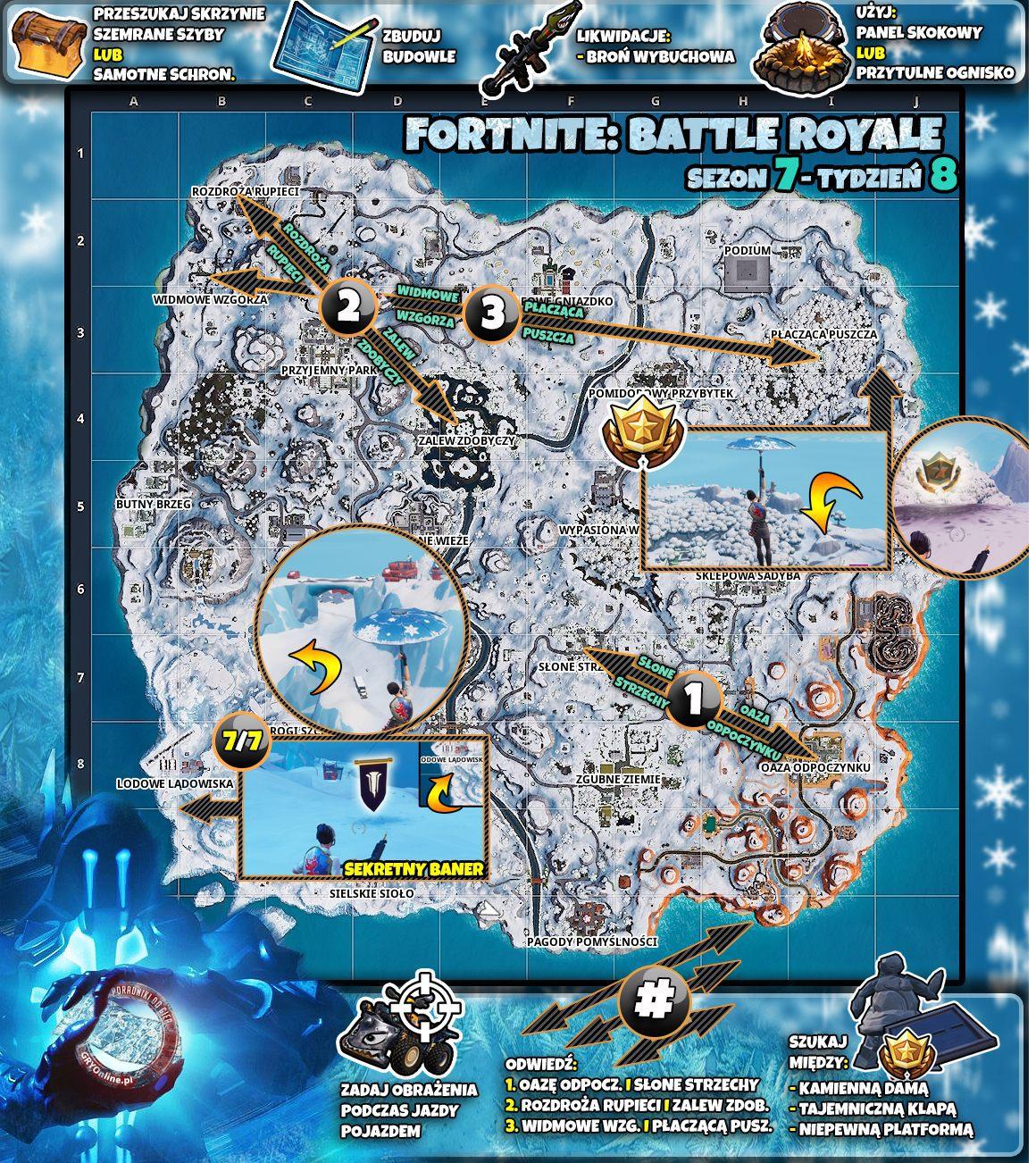 Mapa Wyzwań Sezon 7 Tydzień 8 Wyzwania Fortnite Battle Royale